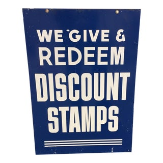 Antique Blue Tin Double Sided Discount Stamp Sign