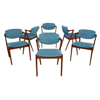 Vintage Kai Kristiansen Danish Modern Teak Model 42 Dining Chairs - Set of 6