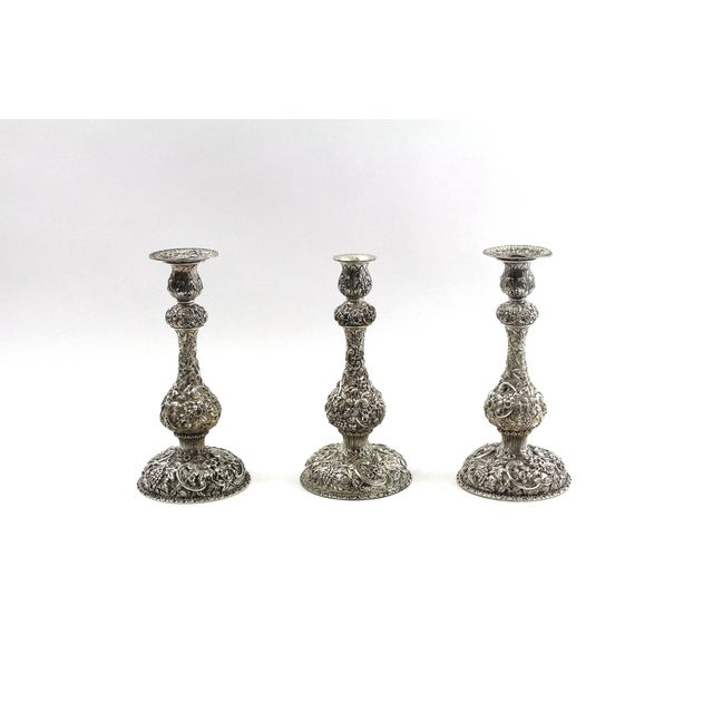 Image of 1900s Sterling Repousse Candlesticks - Set of 3