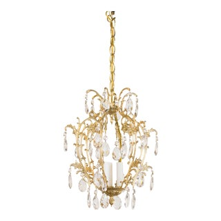 Spanish Brass and Crystal Three Light Pendant