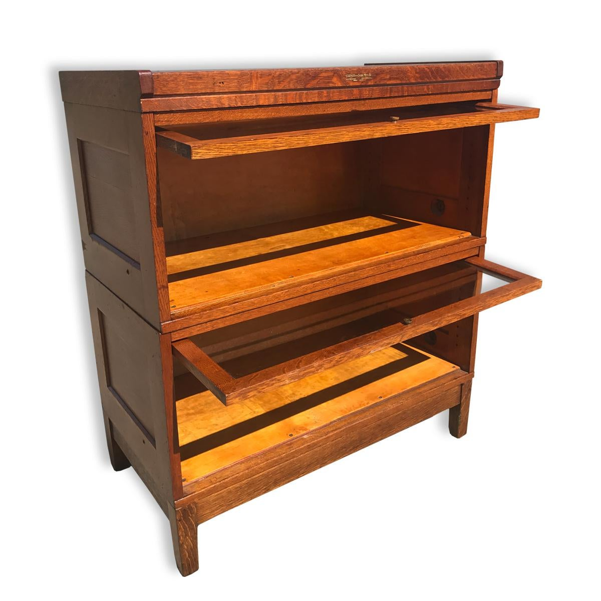 antique yawman u0026 erbe 2 stack barrister bookcase mission oak arts and crafts image 2