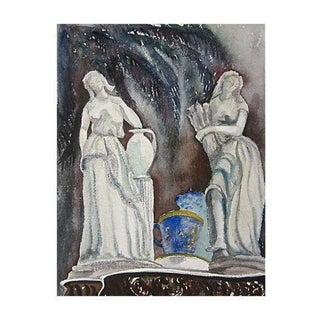 Mid-Century Italian Maidens Watercolor Painting
