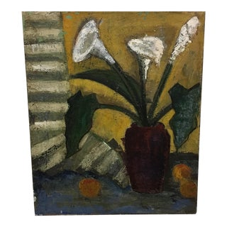 Antique Abstract Flowers in a Vase Oil Painting on Canvas