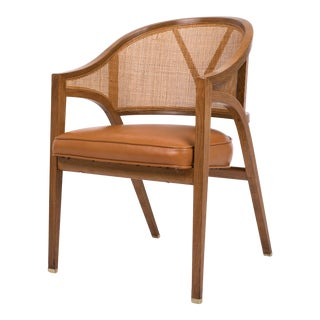 Edward Wormley for Dunbar Y-Back Captain Chair in Woven Cane and Walnut
