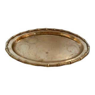 Small Faux Bamboo Trim Brass Tray