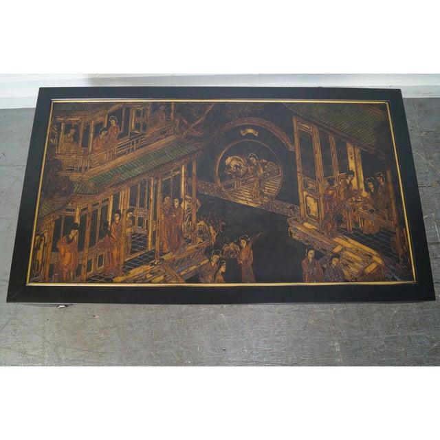 Kindel Chinoiserie Painted Ebonized Coffee Table - Image 8 of 10