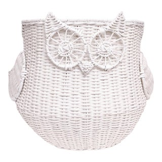 Oversized White Wicker Owl Storage Basket