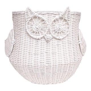 Oversized White Wicker Owl Storage Basket