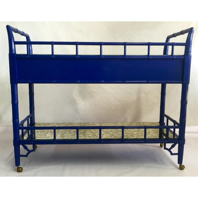 Thomasville Royal Blue Lacquered Server - Image 5 of 11