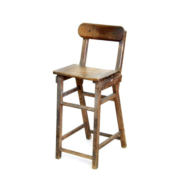 Wood Stool With Hinged Backrest - Image 1 of 4