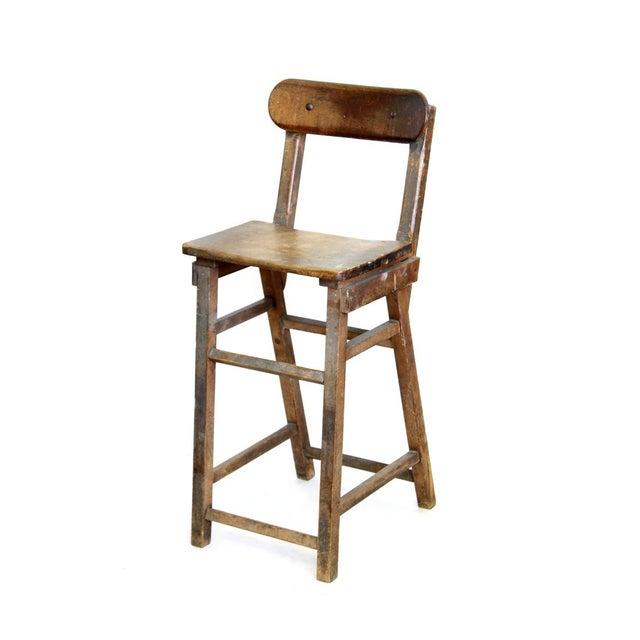 Image of Wood Stool With Hinged Backrest