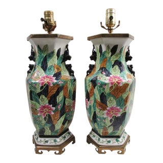 Chinese Porcelain Tobacco Leaf Table Lamps - A Pair