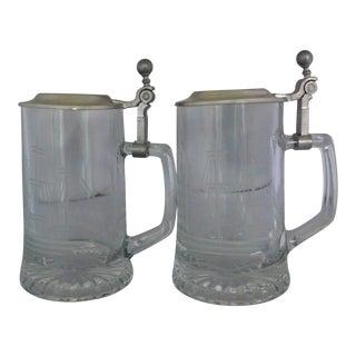 Vintage West German Glass & Pewter Beer Mugs - Set of 2