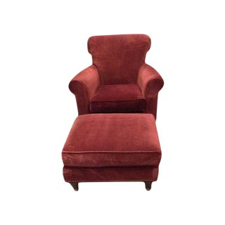 ABC Home Red Club Chair & Ottoman - A Pair