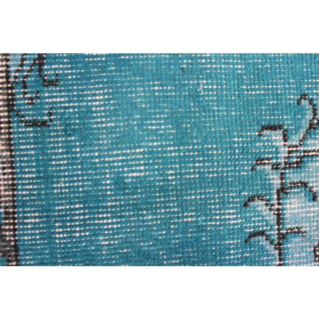 Turkish Over-Dyed Turquoise Rug - 5′5″ × 9′3″ - Image 9 of 11
