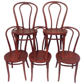 Thonet Barn Red Cafe Chairs - Set of 5