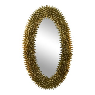 Organic Textured Gold Oval Mirror