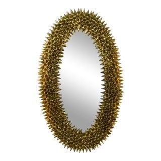 Organic Textured Gold Oval Mirror