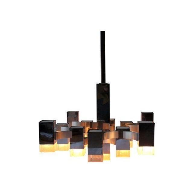 Image of Italian Sciolari Cubic Lightolier Chandelier