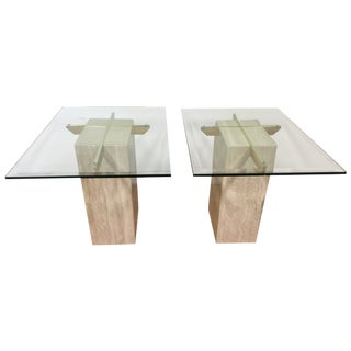 Travertine Brass and Glass End Tables - A Pair