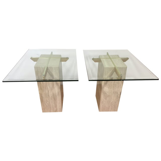 Travertine Brass and Glass End Tables - A Pair - Image 1 of 9