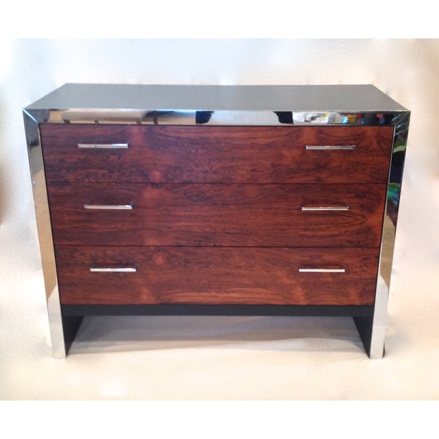 Milo Baughman-Style Rosewood & Chrome Dresser - Image 2 of 10