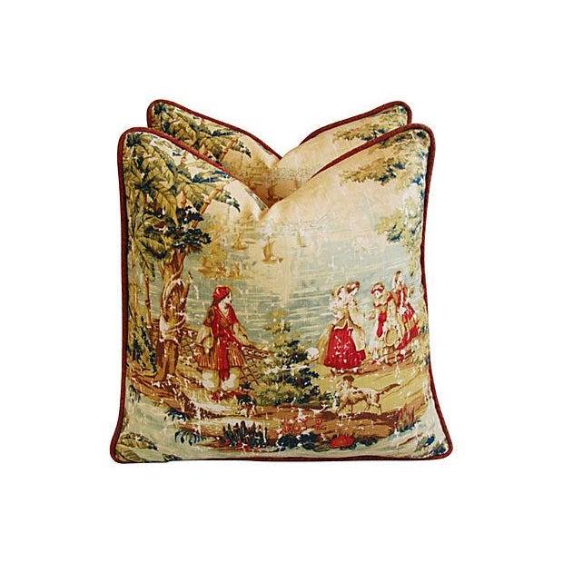 Romantic Custom Renaissance Toile Pillows - Pair - Image 2 of 6