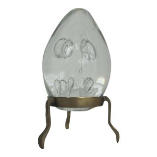 Blown Glass Egg Shaped Paper Weight on Brass Stand