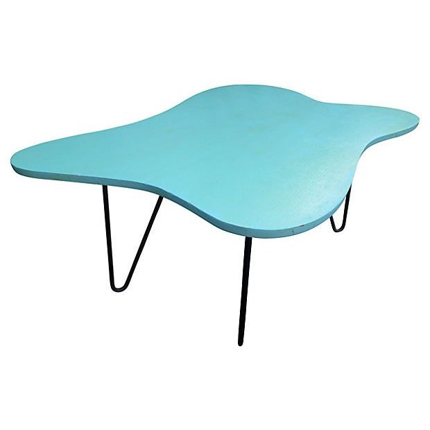 Mid-Century Turquoise Hairpin Coffee Table - Image 2 of 5