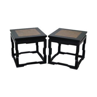 Chinese Marble Top Square Low Tables - A Pair