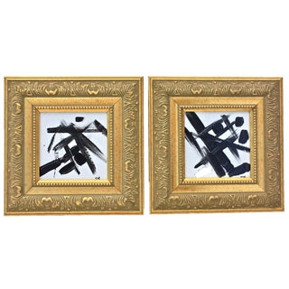 Black & White Abstract Paintings - A Pair