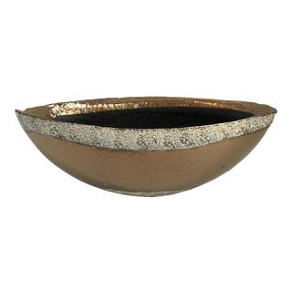 1970s Hollywood Glam Style Terracotta Copper Colored Oval Bowl