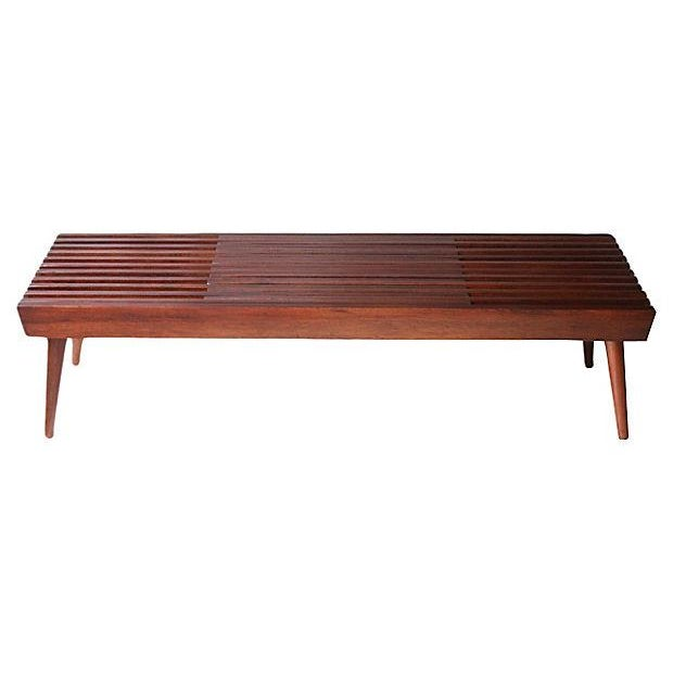 Walnut Expanding Slat Coffee Table Bench Chairish