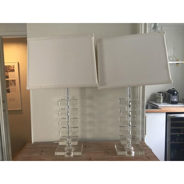 Glass Square Column Table Lamps - A Pair - Image 8 of 8