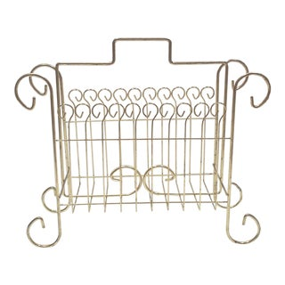 Hollywood Regency Brass Scroll Magazine Rack