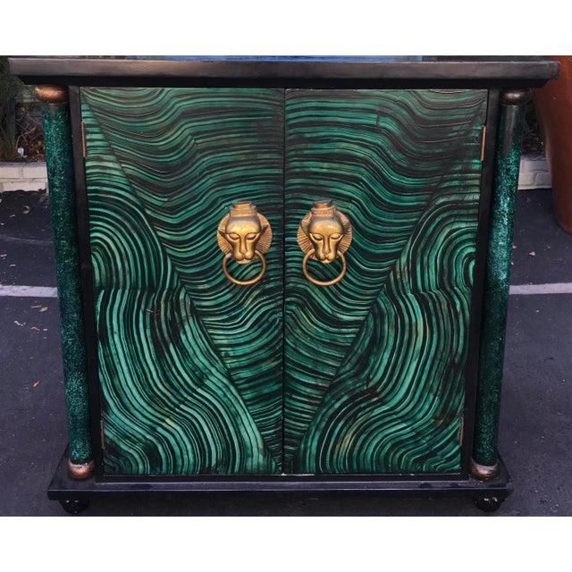 Vintage Mid Century Modern Faux Malachite Cabinet & Mirror - Image 4 of 8