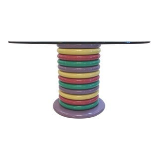 1980s Memphis Style Round Lacquered Wood Table