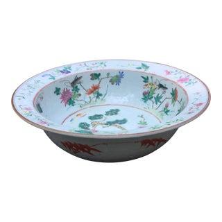 Antique Chinese Famille Rose Crane & Grasshopper Motif Bowl