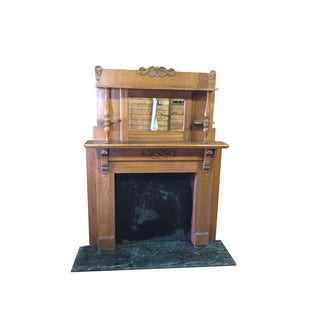 Vintage Victorian Fireplace and Green Granite Hearth