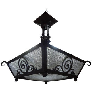 French Art Deco Hand Forged Wrought Iron Chandelier, 1925