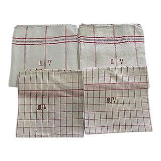 French Ecru Striped Tea Towels - Set of 4