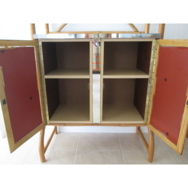 Mid Century Bamboo Mirrored Bar Cabinet - Image 8 of 11