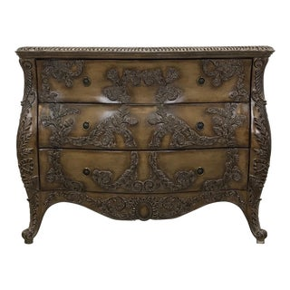 Carved Wood Console Cabinet