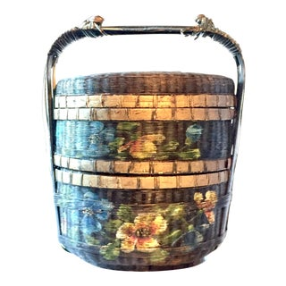 Antique Woven Hand Painted Asian Wedding Basket