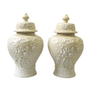 Vintage Italian Porcelain Ginger Jars - A Pair