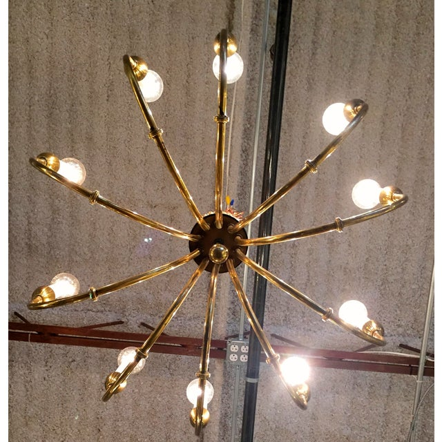 Mid-Century Modern Brass Chandelier in the Manner of Tommi Parzinger - Image 4 of 6