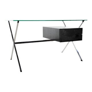 X Frame Glass Top Desk by Albini