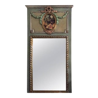 French XVI Style Painted & Polychromed Trumeau Mirror