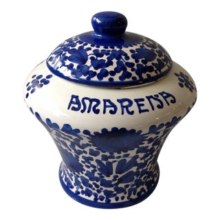 Blue and White Italian Cherry Jar