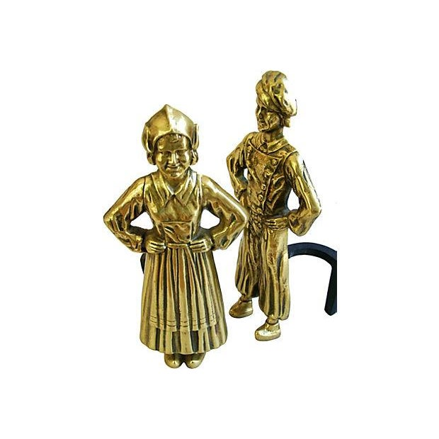 Image of 1940s Brass Dutch Fireplace Andirons